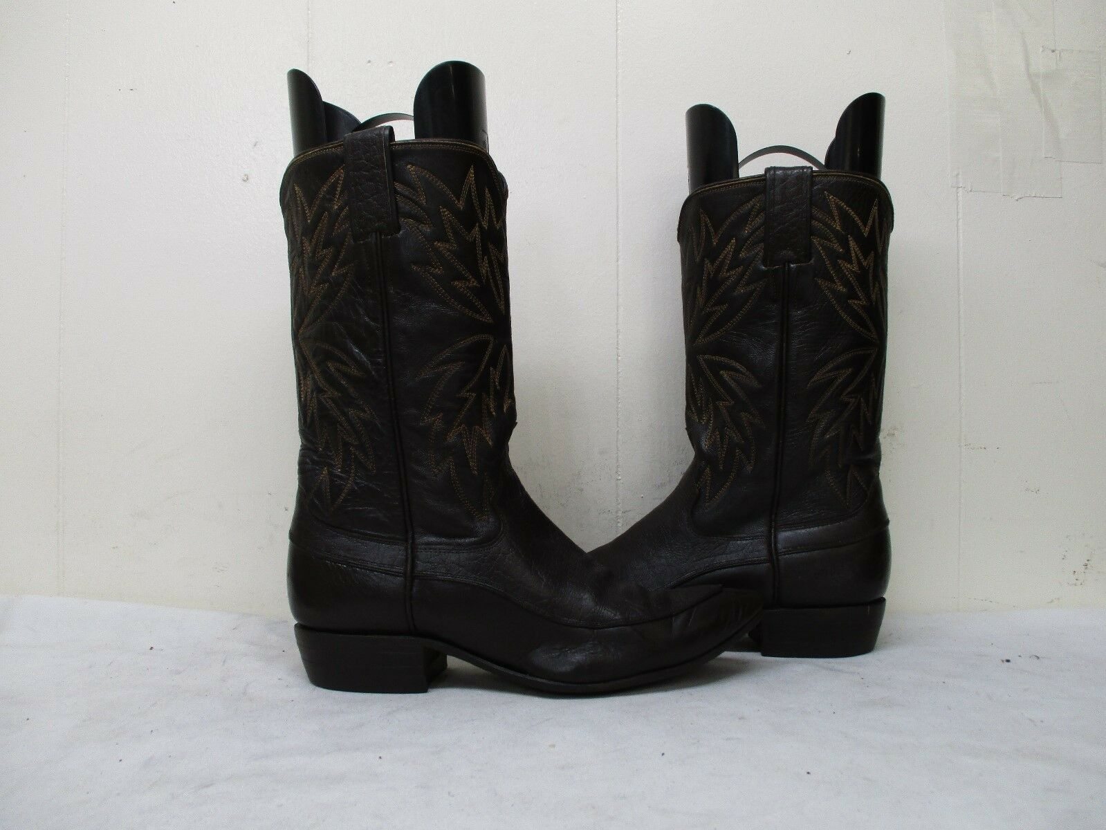 JUSTIN White Label Brown Leather Vintage Cowboy Boots Style L4027 Size 7.5 B USA