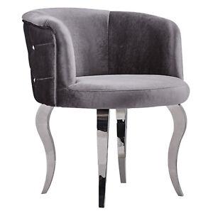 Barock-Sessel-Stuhl-Velours-Metallbeinen-im-Glamourstil-Grau-Silber-Modern