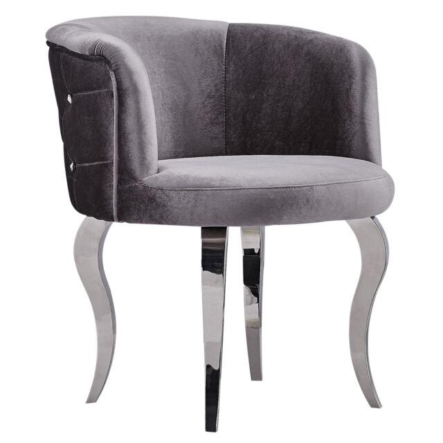 barock Sessel Stuhl Velours Metallbeinen Im Glamourstil grau Silber modern günstig kaufen