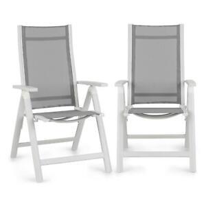 Gartenstuhl Alu klappbar 2er Set Weiß mit Lehne verstellbar Balkon Gartenmöbel