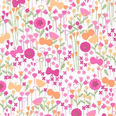 "ROBERT KAUFMAN /""LONDON CALLING 5/"" BLOOM Pink LAWN by yard"