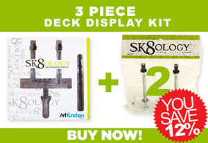 5 Pack SK8OLOGY Skateboard Deck Floating Gallery Wall Display Mount Hangers KIT