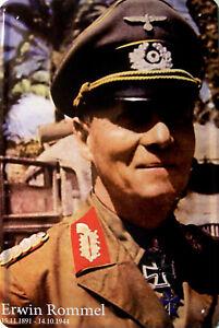 Erwin-Rommel-1891-1944-in-Farbe-Blechschild-Schild-gewoelbt-Tin-Sign-20-x-30-cm