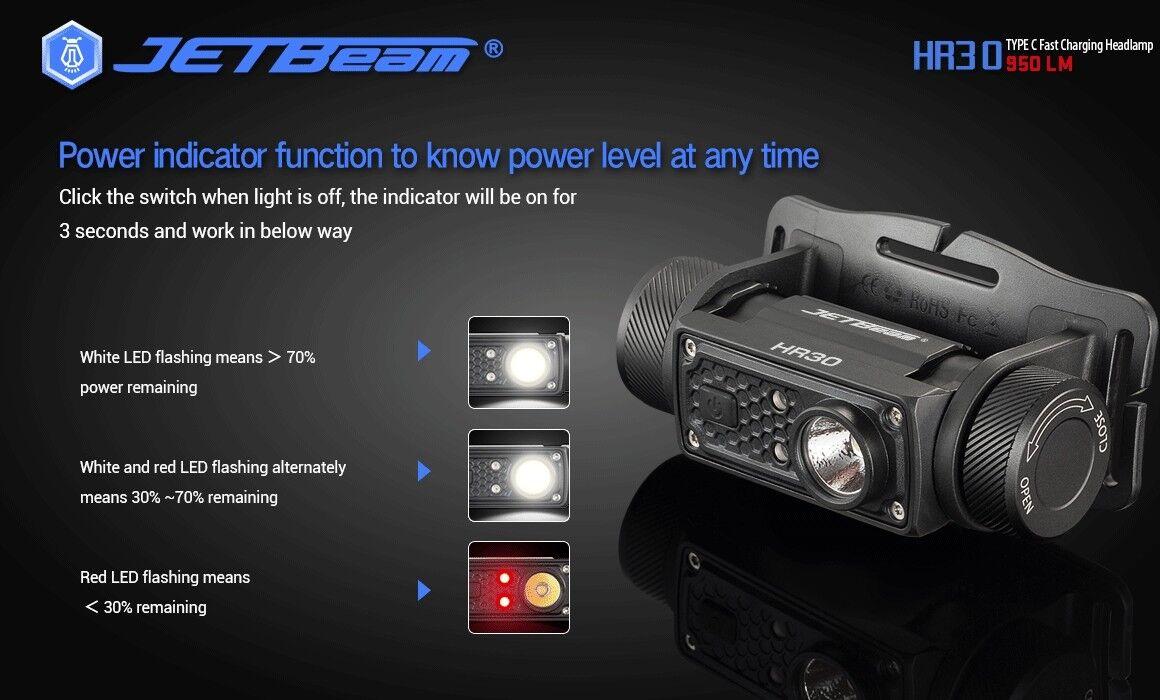 NUOVO Jetbeam HR30 USB LUMINOSO a SST40 N5 950 lumen fari a LUMINOSO LED con batteria 19318f