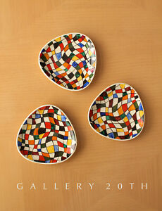FAB! MID CENTURY MODERN ABSTRACT PAINTED EUROPEAN DISHES! VTG ORIG ART 50'S 60'S