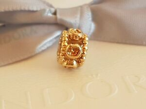 Authentic-Pandora-14ct-Gold-14K-034-Ring-of-Roses-034-Charm-750456-Retired
