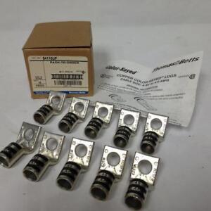 Thomas-amp-Betts-54110UF-Copper-Color-Keyed-Lugs-10Pcs-45-Black-2-0cu-1-Hole-NOS