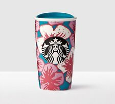 Starbucks Cherry Blossom Sakura Blue Floral Double Wall Traveler Tumbler Cup NEW
