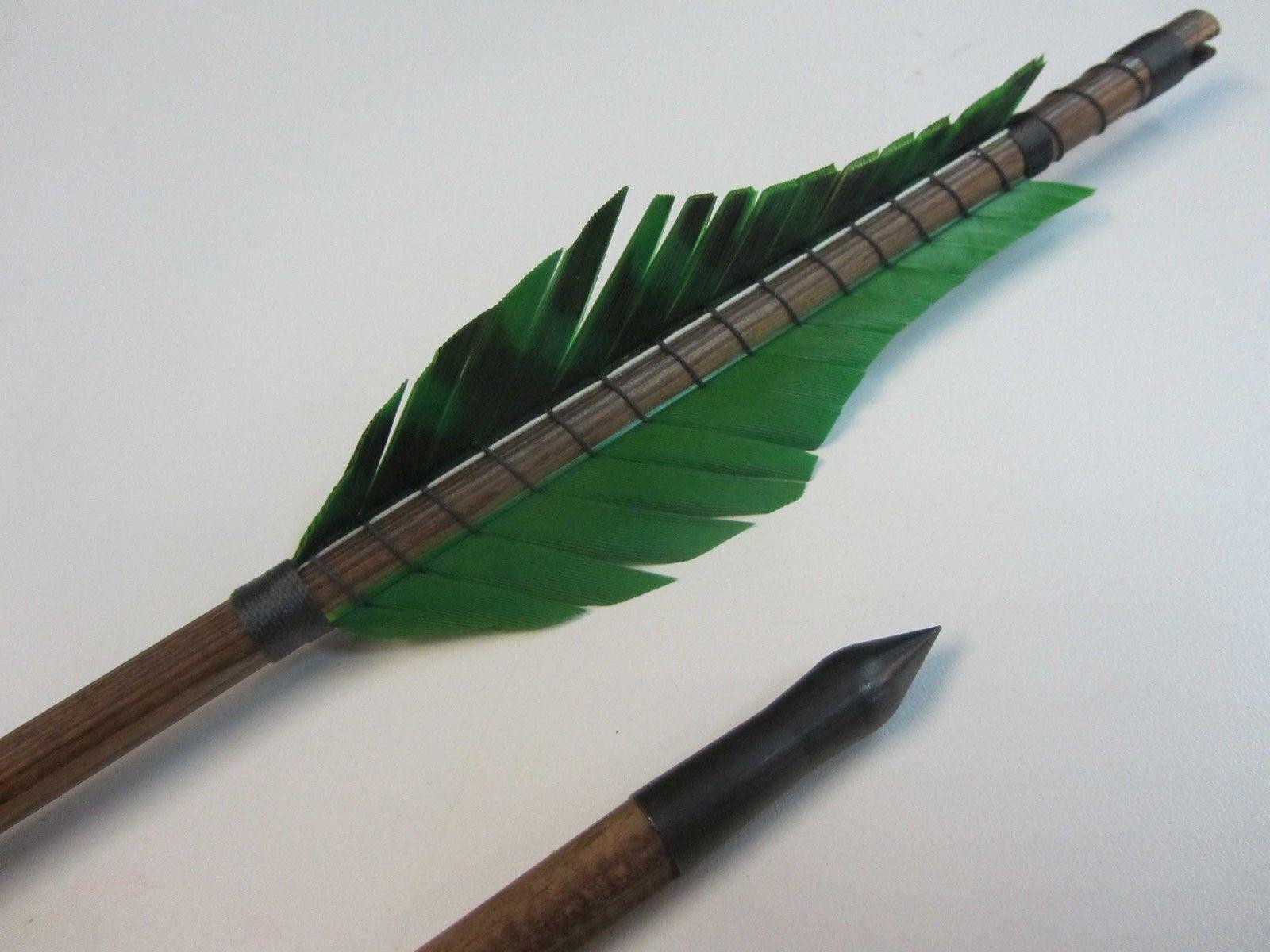 6 Mittelalterliche Holzpfeile Grün arrow Holzpfeil Pfeile bis 65 lbs