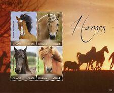 Ghana 2015 MNH Horses 4v M/S I Mustang Fjord Horse Fell Pony Icelandic Horse