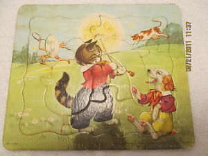 vintage puzzle mother goose nursery rhyme cat cow