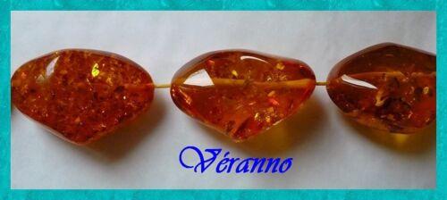 1 perles en résine imitation ambre 4.5x3.5cm env