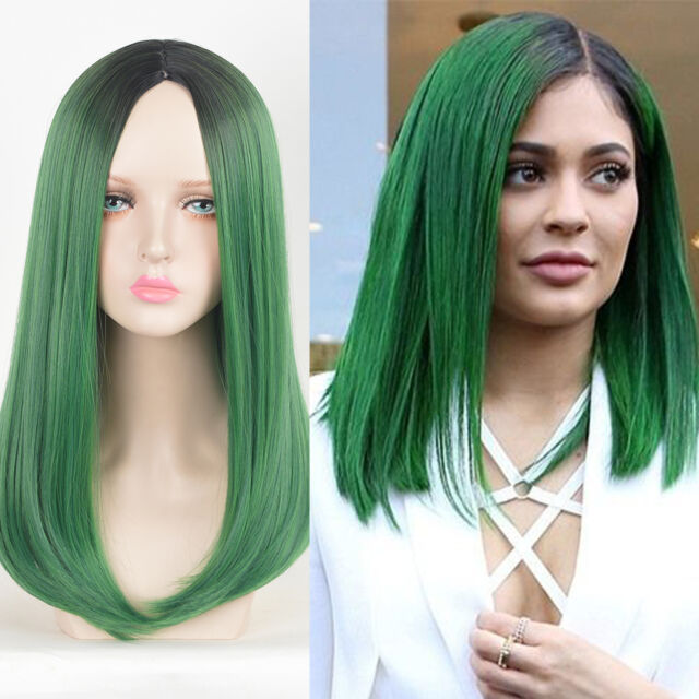 Kylie Jenner Style Hair Wig LONG BOB Pastel Black Root Irish Green Ombre  Wigs 7e3f6d753f5d