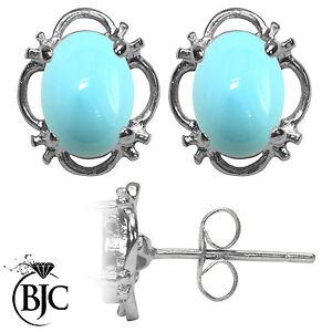 BJC-Argento-Sterling-925-Turchese-Naturale-Singolo-Orecchini-A-Perno-Borchie