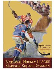 NY Rangers vs NY Americans Game Program Cover (1928-29) - 8x10 Color Photo