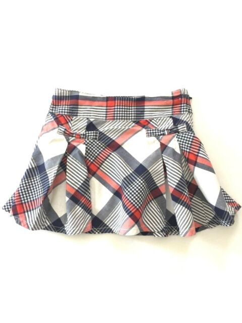 98fdb90654 Gymboree Girls Plaid Skirt Skort Casual Red White Blue with Gold Detail  Size S