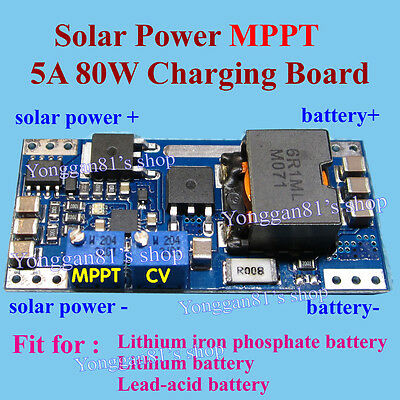 BQ24650 5A MPPT Solar Panel Lithium Lead-acid Battery Charging Controller Board
