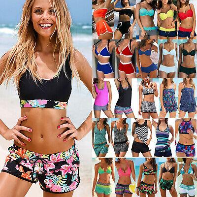 Women Tankini Sets With Boy Shorts Bikini Set Swimwear Push-Up Padded Bra Set US
