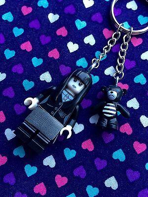 Spooky Goth Girl Figure Keychain...Handmade using LEGO® parts