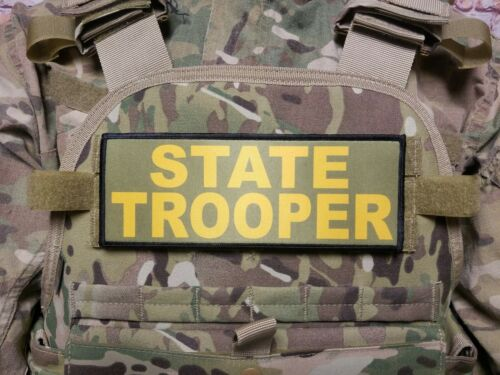 "3x8/"" STATE TROOPER Gold on OD Green Hook Back Placard Patch for Plate Carrier"