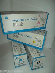 Konica-Minolta-Magicolor-2300-Toner-Cartridge-Set-Yellow-Cyan-Black-Magenta-NEW
