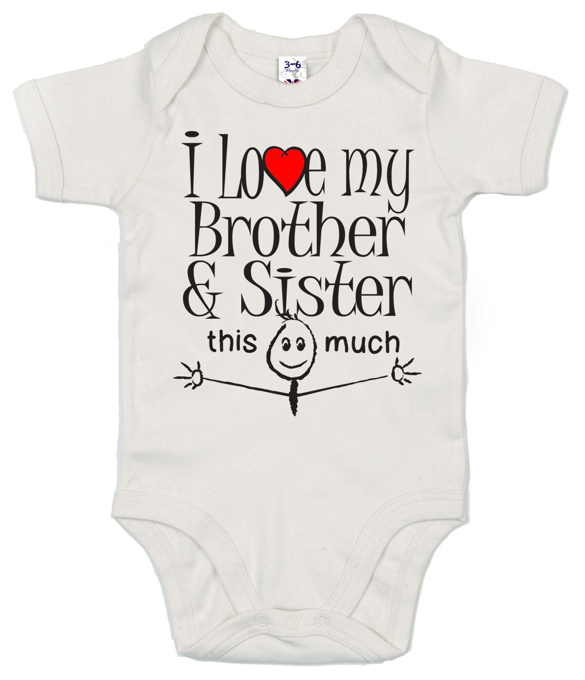 """Funny Baby Bodysuit /""""I Love My Brother This Much/"""" Trimmed Babygrow Clothes"""
