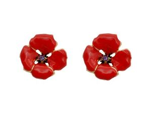 Classic bright red poppy flower symbolic earrings studs e875 ebay image is loading classic bright red poppy flower symbolic earrings studs mightylinksfo
