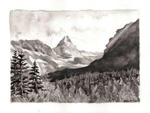 ORIGINAL Montana Mountains wall art watercolor painting black & white landscape