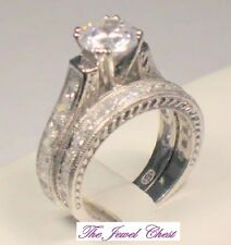 Round Princess cut Diamond Solitaire Engagement Ring Bridal Set Vintage Platinum