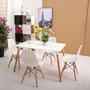 Modern Eiffel Style Dining Table Set White Rectangle Table 4