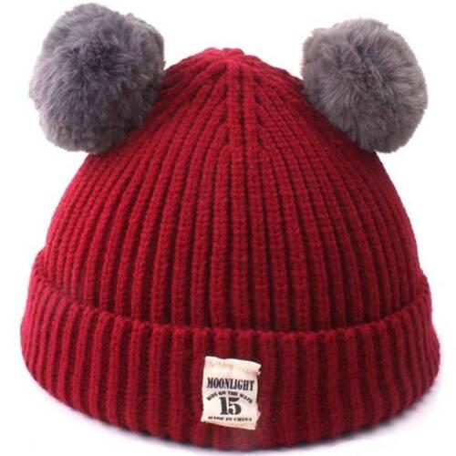 Toddler Kid Girl Boy Baby Infant Fur Pom Winter Warm Crochet Knit Hat Beanie Cap