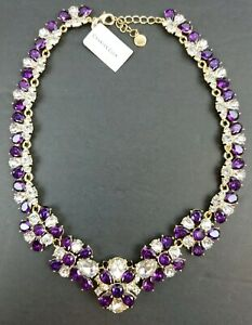Charter-Club-Gold-Tone-Amethyst-Crystal-Statement-Necklace-NWT-79-Free-Shipping