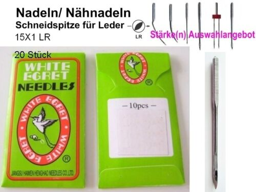 Nadeln  15 X1 LR, Stärken zur AUSWAHL 20 LEDER NÄHNADELN