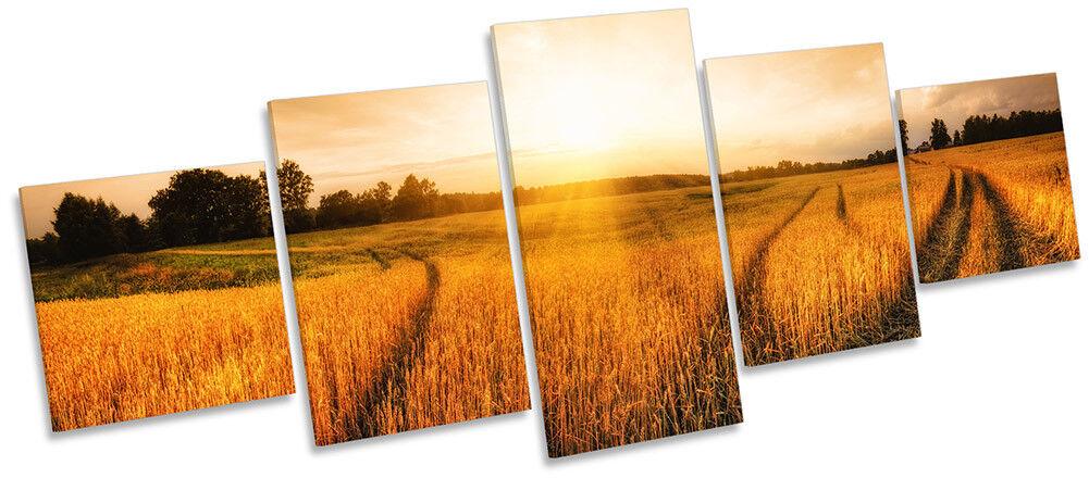 Lienzo Enmarcado Paisaje Rural trigo Campo de trigo Rural impresión de cinco paneles de pa rojo  Arte e79716