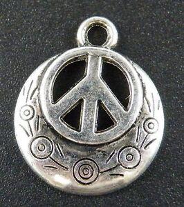 100pcs Tibetan Silver Ornate Peace Logo Charms Pendants 24x20x3mm