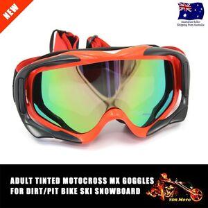 Motocross motor bike goggles anti-fog UV protection MX dirt Tinted RED frame