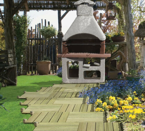 Terrasses Carreau 62006 de Pin vert KDI 50x50cm holzfliese Balk... 4 pcs