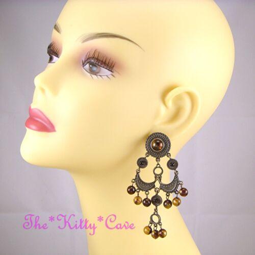 Vintage Gypsy Ethnic Bronze Tone Chandelier Earrings w// Tiger Eye Effect Beads