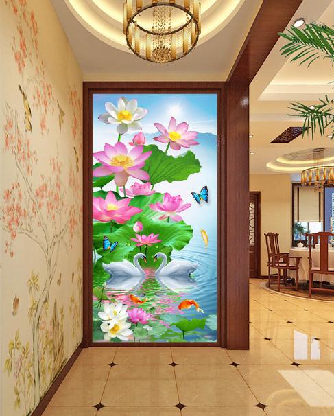 3D Schwan Lotus See See See 8 Fototapeten Wandbild Fototapete Bild Tapete Familie Kinder | Modern Und Elegant In Der Mode  | Elegant  |  1624a3