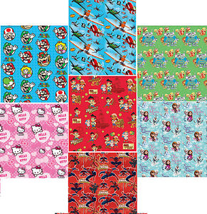 Image Is Loading Kids Character GIFT WRAP Birthday PARTY Wrapping Paper
