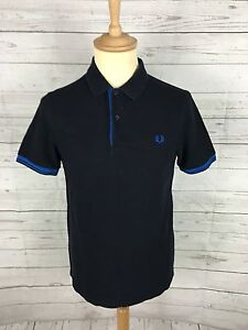 Men-039-s-Fred-Perry-Polo-Shirt-Small-Navy-Twin-Tipped-Great-Condition