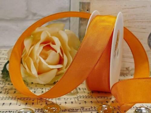 5m Schleifenband 0,39€//m Drahtband orange 25mm Kommunion Hochzeit Frühling