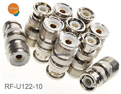 10-Pack UHF PL259 Male to UHF SO239 Female Right Angle Adapter RF-U103-10