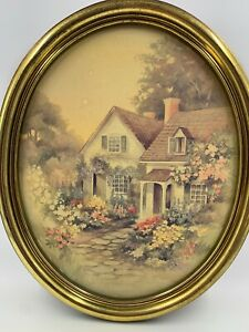 Home-Interior-Homco-Picture-Large-Oval-Gold-Frame-House-Home-Farm-Country-Flower