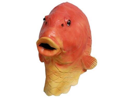Gold Fish Mask Full Head Latex GoldFish Orange Fancy Dress Carp Costume Animal