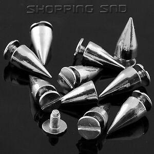 60pcs 14mm Silver Cone Spots Metal Studs Leathercraft Rivets Bullet Spikes Screw