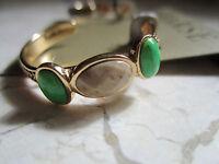 On Card Barse Genuine Bronze Lime Turquoise African Opal Hoop Earrings