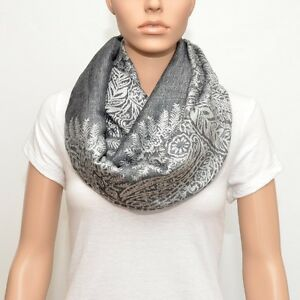 Gray Infinity Scarf with floral pattern, Nursing cover, Nursing scarf