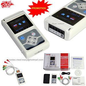 ECG/EKG Holter System 3 Channel 24 Hours Recorder Monitor USB+Software USA Sell