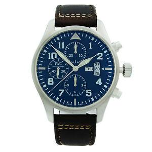 IWC Pilot Chronograph Steel Midnight Blue Arabic Dial Mens Watch IW377714